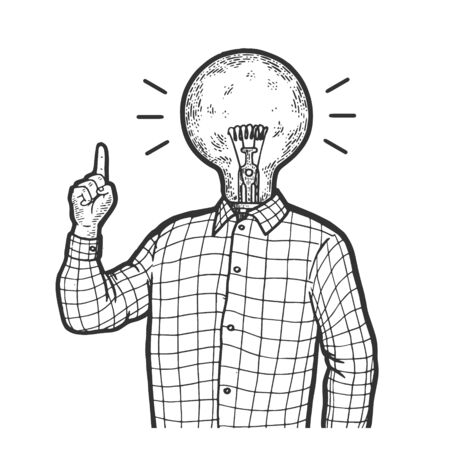 Man with lamp idea head and index forefinger up hand attention gesture sketch engraving vector illustration. Scratch board style imitation. Black and white hand drawn image.