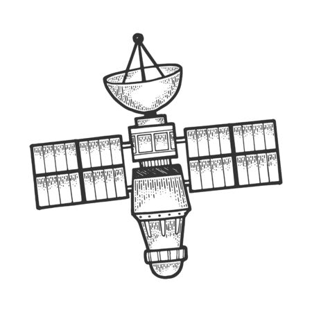Artificial satellite sketch engraving vector illustration. Scratch board style imitation. Black and white hand drawn image.