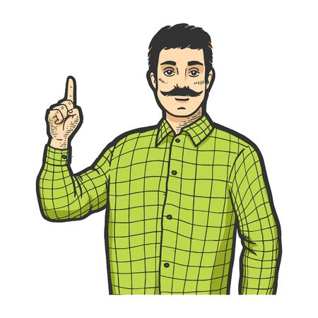 Man with index forefinger up hand attention gesture color sketch engraving vector illustration. Scratch board style imitation. Black and white hand drawn image. Banco de Imagens - 128502776