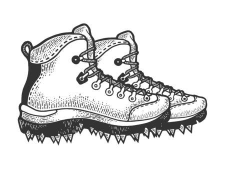 Botas de escalador con pinchos boceto grabado ilustración vectorial. Imitación de tablero de rascar. Imagen dibujada a mano en blanco y negro.