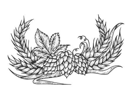 Hops and barley plant engraving sketch vector illustration. Scratch board style imitation. Black and white hand drawn image. Ilustração
