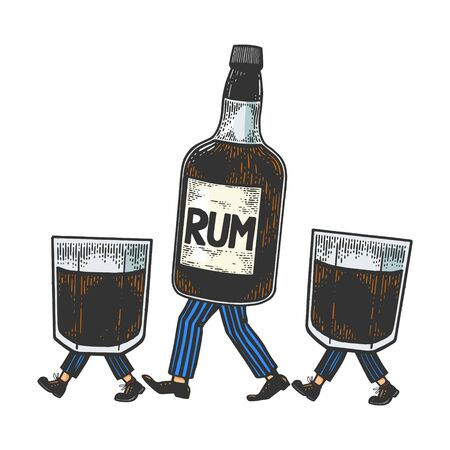 Rum alcohol bottle with ice and glasses walks on its feet color sketch engraving vector illustration. Scratch board style imitation. Black and white hand drawn image.