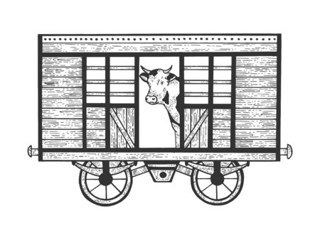 Cow in railway carriage train wagon sketch engraving vector illustration. Scratch board style imitation. Hand drawn image. Banco de Imagens - 128502786