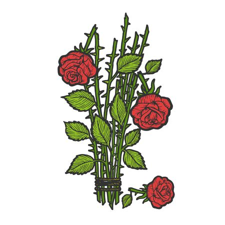 Broken roses bouquet flower color sketch engraving vector illustration. Scratch board style imitation. Black and white hand drawn image. Ilustração
