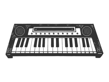 Synthesizer electronic piano instrument sketch engraving vector illustration. Scratch board style imitation. Black and white hand drawn image. Stock Illustratie
