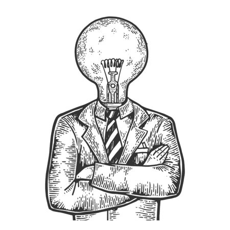 Businessman with lamp bulb instead head sketch engraving vector illustration. Scratch board style imitation. Black and white hand drawn image.