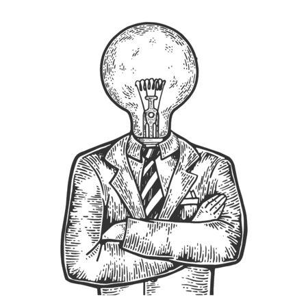 Empresario con bombilla de lámpara en lugar de cabeza boceto grabado ilustración vectorial. Imitación de tablero de rascar. Imagen dibujada a mano en blanco y negro. Ilustración de vector