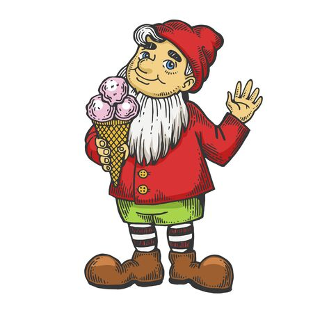 Gnome with ice cream color sketch engraving vector illustration. Wroclaw symbol mascot. Scratch board style imitation. Black and white hand drawn image. Banco de Imagens - 128502791