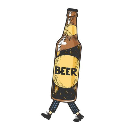 Beer bottle walks on its feet color sketch engraving vector illustration. Scratch board style imitation. Black and white hand drawn image.  イラスト・ベクター素材