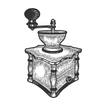 Coffee grinder sketch engraving vector illustration. Scratch board style imitation. Black and white hand drawn image.