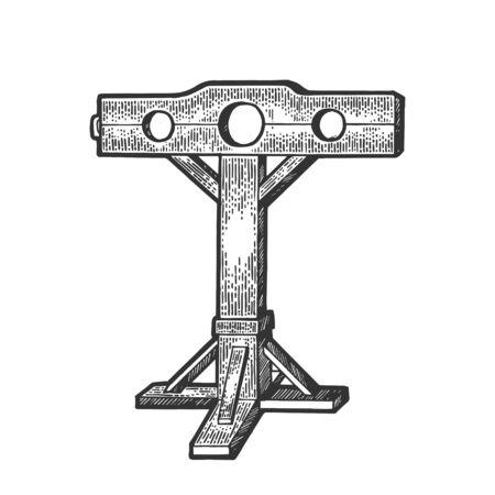 Stocks dispositivo de tortura medieval boceto grabado ilustración vectorial. Imitación de tablero de rascar. Imagen dibujada a mano. Ilustración de vector