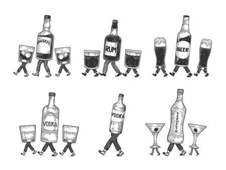 Bouteille de vermouth d'alcool de vodka de bière de whisky avec de la glace et des verres marche sur ses pieds croquis gravure illustration vectorielle. Imitation de style planche à gratter. Image dessinée à la main en noir et blanc. Vecteurs