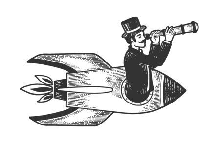 Old fashioned gentleman flies in rocket and looks through telescope sketch engraving vector illustration. Scratch board style imitation. Black and white hand drawn image.