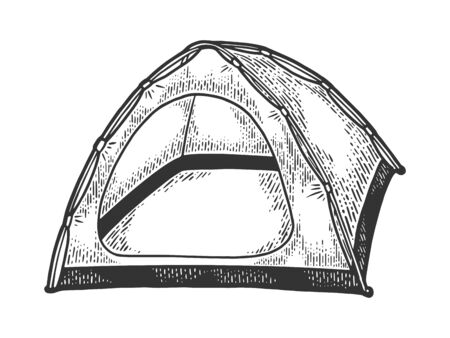 Tourist tent sketch engraving vector illustration. Scratch board style imitation. Black and white hand drawn image.