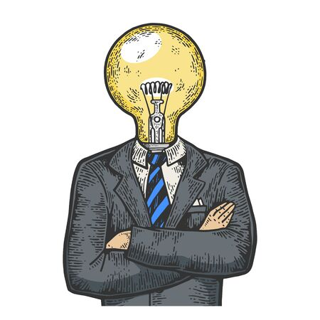 Businessman with lamp bulb instead head color sketch engraving vector illustration. Scratch board style imitation. Black and white hand drawn image.