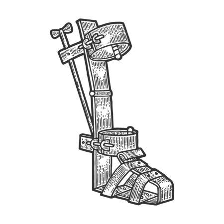Bota española dispositivo de tortura medieval dibujo grabado ilustración vectorial. Imitación de tablero de rascar. Imagen dibujada a mano.