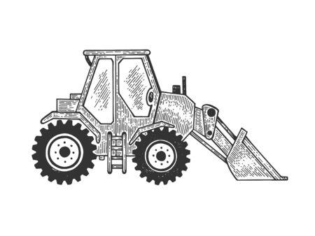 Niveleuse route moteur machine croquis gravure illustration vectorielle. Imitation de style planche à gratter. Image dessinée à la main en noir et blanc.