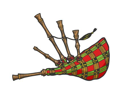 Bagpipes instrument color sketch engraving vector illustration. Scratch board style imitation. Black and white hand drawn image.