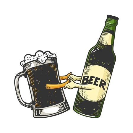Beer mug cup in dance with bottle color sketch engraving vector illustration. Scratch board style imitation. Black and white hand drawn image.