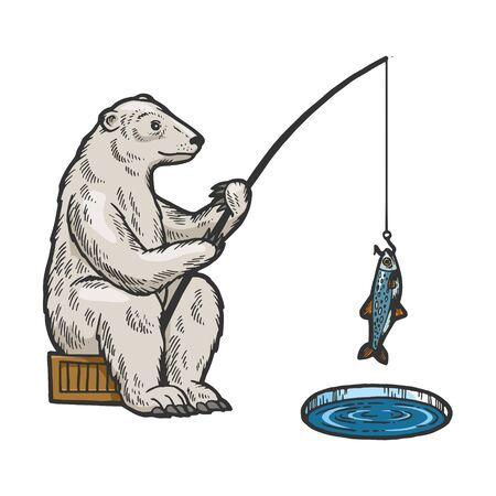 Polar Bear fishing with fishing rod in hole in ice color sketch engraving vector illustration. Scratch board style imitation. Hand drawn image.