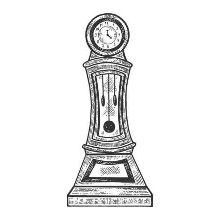 Vintage Grandfather Clock sketch engraving vector illustration. Scratch board style imitation. Hand drawn image. Stock Vector - 128502802