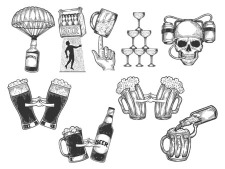 Alcohol bar menu set sketch engraving vector illustration. Scratch board style imitation. Black and white hand drawn image.