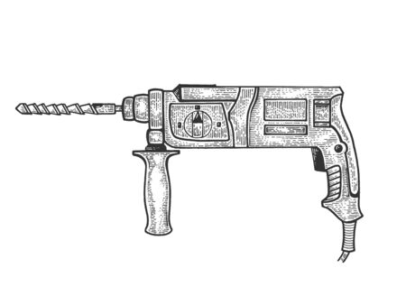 Rotary hammer power tool sketch engraving vector illustration. Scratch board style imitation. Hand drawn image.