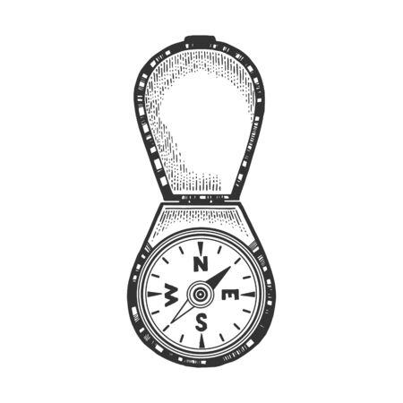 Vintage compass sketch engraving vector illustration. Navigation symbol. Scratch board style imitation. Hand drawn image.
