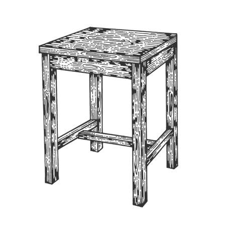 Hocker Holztisch Stuhl Skizze Gravur Vector Illustration. Nachahmung im Scratchboard-Stil. Handgezeichnetes Bild.