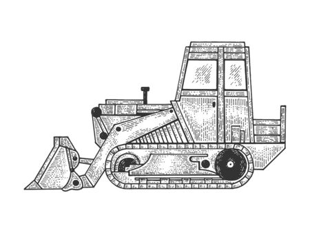 Bulldozer machine sketch engraving vector illustration. Scratch board style imitation. Black and white hand drawn image.