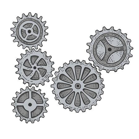 Gear mechanism color sketch engraving vector illustration. Scratch board style imitation. Hand drawn image. Ilustração