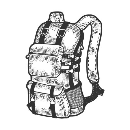 Tourist backpack sketch engraving vector illustration. Scratch board style imitation. Black and white hand drawn image. 일러스트