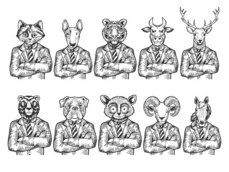 Animal heads businessman sketch engraving vector illustration. Scratch board style imitation. Black and white hand drawn image. Illustration