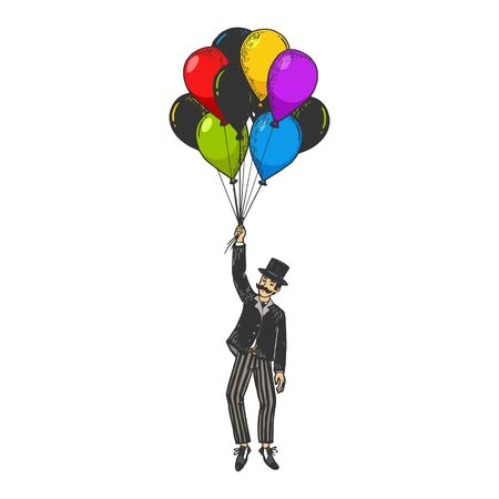 Old fashioned gentleman flying on air balloons color sketch engraving vector illustration. Scratch board style imitation. Black and white hand drawn image.
