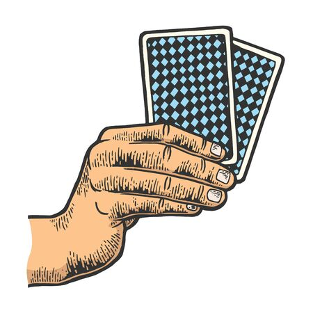 Poker playing cards in hands color sketch engraving vector illustration. Scratch board style imitation. Black and white hand drawn image. Ilustração