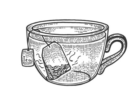 Cup of tea with tea bag sketch engraving vector illustration. Scratch board style imitation. Black and white hand drawn image.