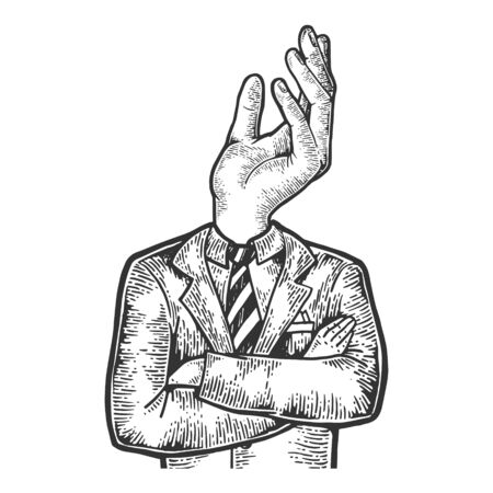 Businessman with beggar hand gesture instead head sketch engraving vector illustration. Scratch board style imitation. Black and white hand drawn image.