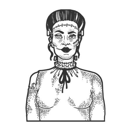 Fabulous artificial monster zombie woman sketch engraving vector illustration. Illustration