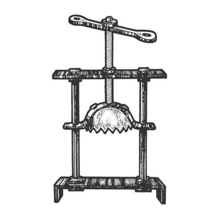 Dispositivo de tortura medieval trituradora de cabeza dibujo grabado ilustración vectorial. Imitación de tablero de rascar. Imagen dibujada a mano.