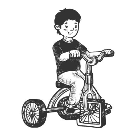 Boy kid on children tricycle with square wheels sketch engraving vector illustration. Scratch board style imitation. Hand drawn image. Ilustracja