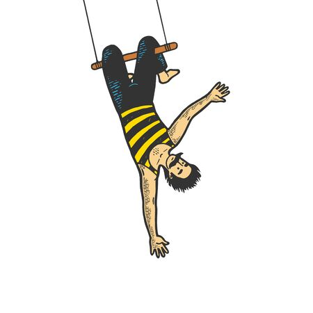 Circus acrobat hanging on trapeze performance color sketch line art engraving vector illustration. Tee shirt apparel print design. Scratch board style imitation. Black and white hand drawn image.