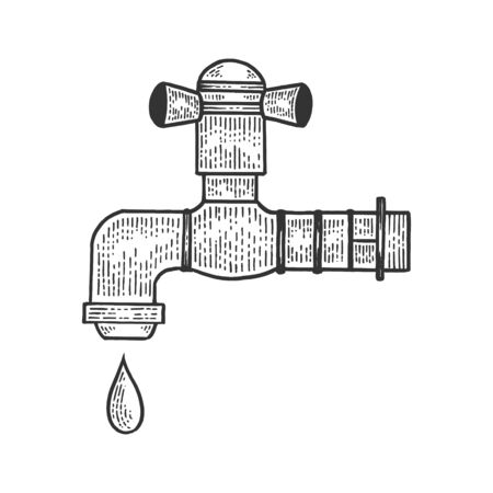 Water tap with drop sketch engraving vector illustration. Tee shirt apparel print design. Ilustração