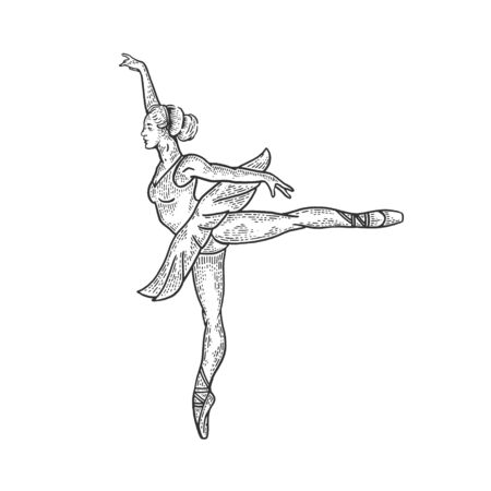 Ballet dancer woman sketch engraving vector illustration. Tee shirt apparel print design.  イラスト・ベクター素材