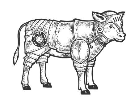 Calf bull in knight armor sketch engraving vector illustration.