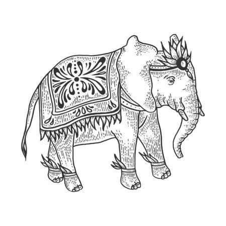 Indian elephant animal sketch engraving vector illustration. Tee shirt apparel print design.