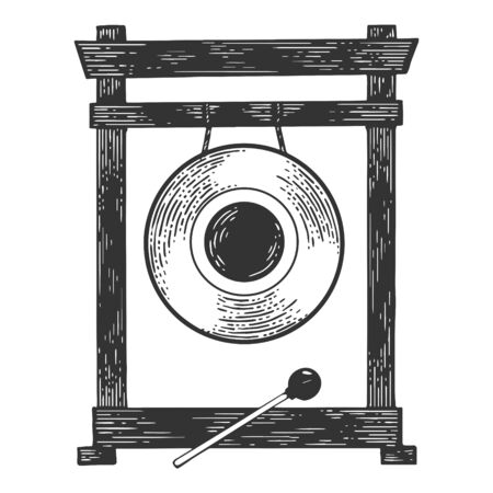 Gong musical percussion instrument circular metal disc sketch engraving vector illustration.