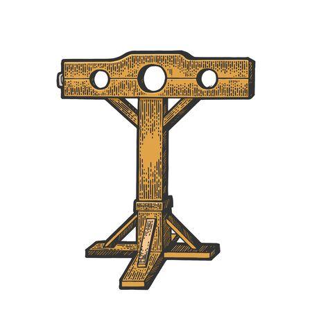 Stocks dispositivo de tortura medieval color boceto grabado ilustración vectorial. Diseño de impresión de ropa de camiseta. Imitación de tablero de rascar. Imagen dibujada a mano. Ilustración de vector