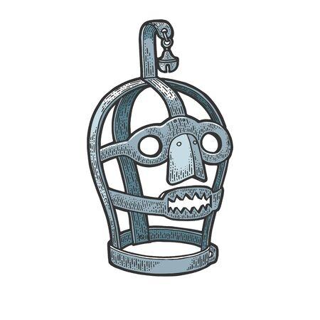 Regaña la ilustración de vector de grabado de boceto de color de dispositivo de tortura medieval de brida. Diseño de impresión de ropa de camiseta. Imitación de tablero de rascar. Imagen dibujada a mano.
