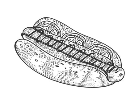Hot dog sketch engraving vector illustration. Scratch board style imitation. Hand drawn image.