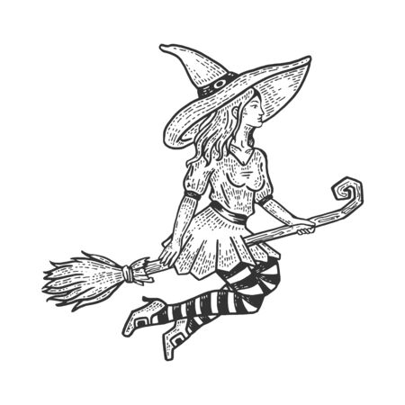 Young beautiful witch girl flying on broomstick sketch engraving vector illustration.